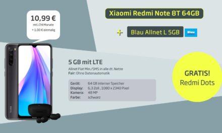 Xiaomi Redmi Note 8T (+ gratis Redmi Airdots) für 1€ im Allnet L Tarif von Blau – 5 GB – LTE Netz von O2 – 10,99 € monatlich
