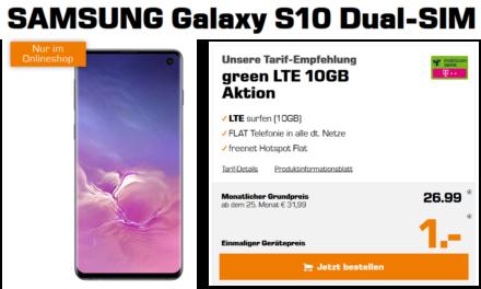 Samsung Galaxy S10 für 1€ – 10 GB – LTE Netz von Telekom – Tarif von md – 26,99 € monatlich