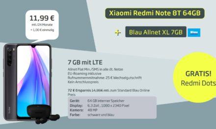 Xiaomi Redmi Note 8T (+ gratis Redmi Airdots) für 1€ im Allnet XL Tarif von Blau – 7 GB – LTE Netz von O2 – 11,99 € monatlich