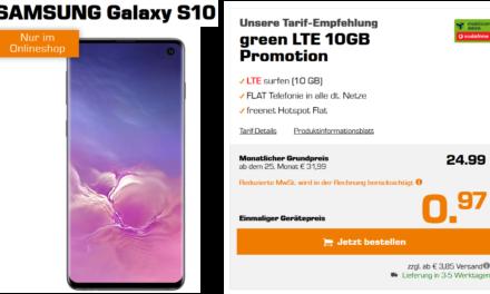 Samsung Galaxy S10 für 0,97 € – Allnet – 10 GB – LTE – Vodafone Tarif von md – 24,99 € monatlich