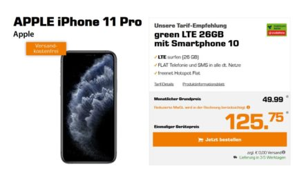 iPhone 11 Pro für 125,75 € –  Allnet – 26 GB – LTE – Vodafone Tarif von md – 49,99 € monatlich