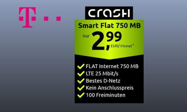 750 MB & 100 Freiminuten von crash im LTE Netz der Telekom für 2,99 € monatlich
