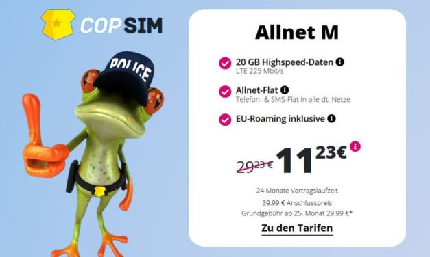 20 GB & Allnet-Flat von CopSim im LTE Netz von o2 für 11,23€ monatlich