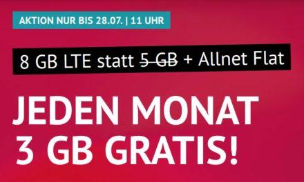 8 GB & Allnet-Flat von handyvertrag.de im LTE Netz von o2 für 9,99 € monatlich