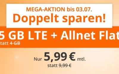 5 GB Allnet-Flat von sim.de im LTE Netz von o2 für 5,99 € monatlich