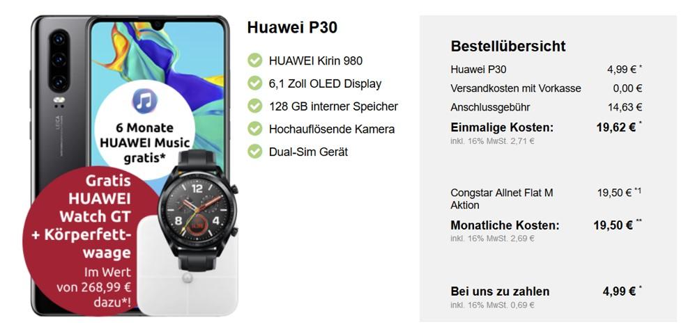 Huawei P30 (+ gratis Smartwatch und Körperwaage) für 4,99 € - Allnet - 8 GB - Congstar LTE (Telekom) - 19,50 € monatlich