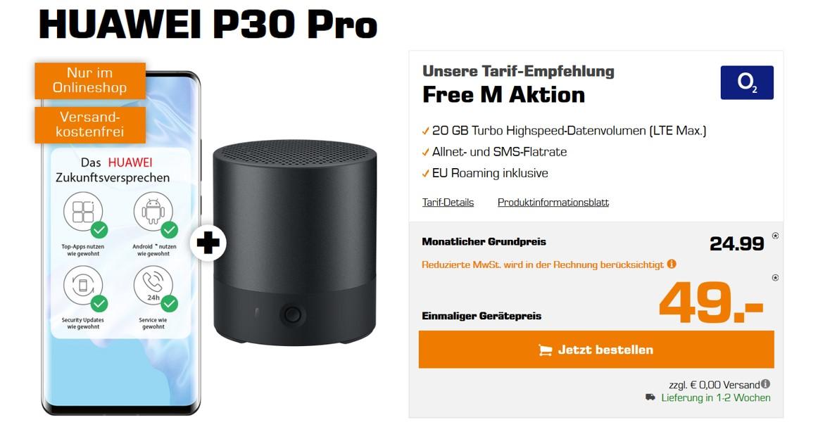 Huawei P30 Pro (+ gratis Mini Speaker) für 49 € – Allnet – 20 GB – o2 Free M LTE – 24,99 € monatlich