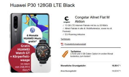 **Update** Huawei P30 (+ gratis Smartwatch und Körperwaage) für 4,99 € – Allnet – 8 GB – Congstar LTE (Telekom) – 19,50 € monatlich
