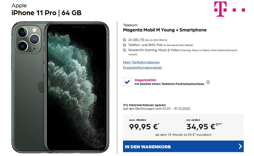 iPhone 11 Pro für 99 € - Allnet - 24 GB - Magenta Mobil M - eff. 40 € monatlich