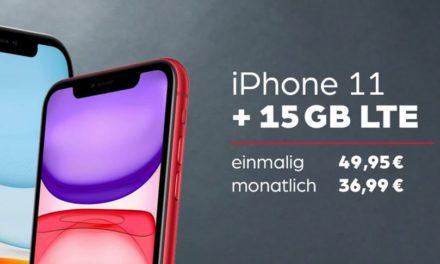 iPhone 11 für 49,95 € – Allnet – 15 GB – Vodafone Smart L – GigaKombi möglich – 36,99 € monatlich