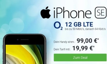 iPhone SE (2020) für 99 € – Allnet – 12 GB LTE – o2 Blue All-in M – 19,99 € monatlich