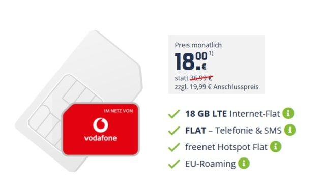 18 GB LTE – Allnet – md im Netz von Vodafone – 18,00 € monatlich