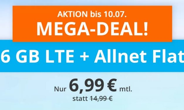 **TopDeal** 6 GB & Allnet-Flat von sim.de im LTE Netz von o2 für 6,99 € monatlich