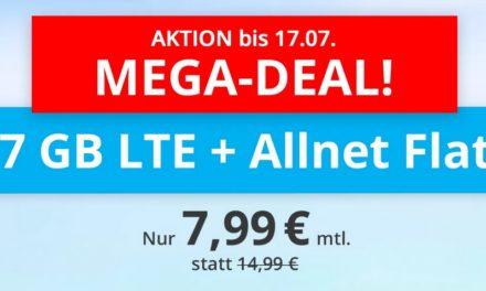 **TopDeal** 7 GB & Allnet-Flat von sim.de im LTE Netz von o2 für 7,99 € monatlich