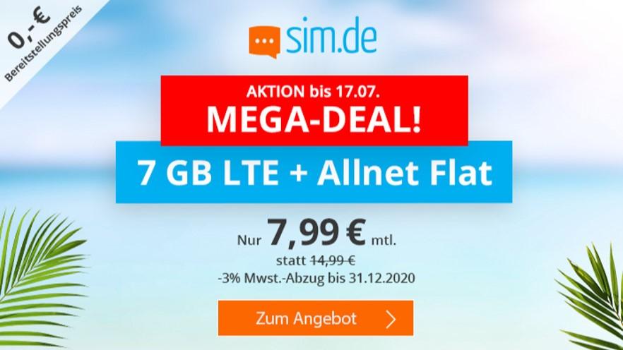 7 GB & Allnet-Flat von sim.de im LTE Netz von o2 für 7,99 € monatlich