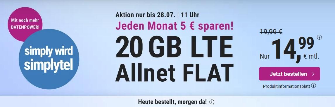 20 GB & Allnet-Flat von simplytel im LTE Netz von o2 für 14,99 € monatlich