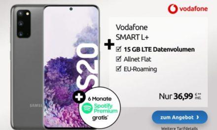 **REDUZIERUNG** Samsung Galaxy S20 (+ gratis Bluetooth Kopfhörer) für 49,00 € – Allnet – 15-25 GB – LTE – Vodafone Smart L Plus – 36,99 € monatlich