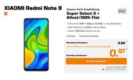 Xiaomi Redmi Note 9 für 0,97 € – Allnet – 5 GB – LTE – o2 Netz – 9,99 € monatlich
