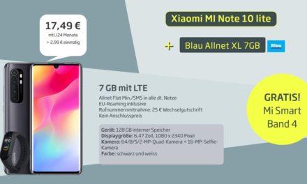 Xiaomi Mi Note 10 Lite (+ gratis Mi Band 4) für 2,99 € – Allnet – 7 GB – Blau LTE – 17,49 € monatlich