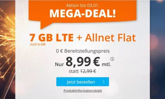 **TopDeal** 7 GB – Allnet-Flat von sim.de – LTE Netz von Telefónica – 8,99 € mtl.