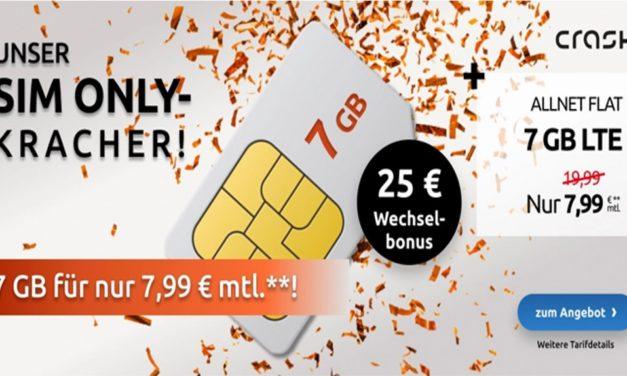 7 GB – Allnet-Flat von Crash – LTE Netz von Vodafone – 7,99 € mtl.