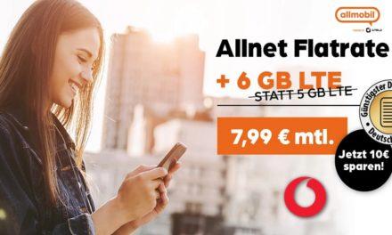 6 GB – Allnet-Flat von allmobil – LTE Netz von Vodafone – 7,99 € mtl.