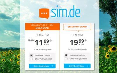 **TopDeal** 12 / 20 GB – Allnet-Flat von sim.de – LTE Netz von Telefónica – 11,99 € / 19,99 € mtl.