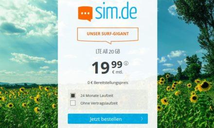 20 GB – Allnet-Flat von sim.de – LTE Netz von Telefónica – 19,99 € mtl.