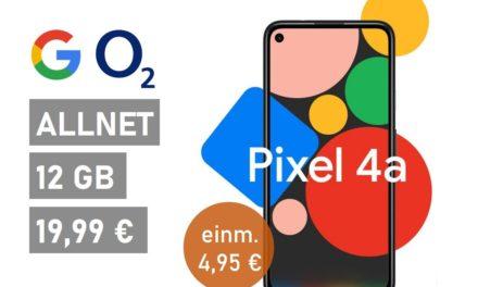 Google Pixel 4a – Allnet – 12 GB – o2 Netz – 19,99 € mtl.