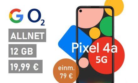 Google Pixel 4a (5G) – Allnet – 12 GB – o2 Netz – 19,99 € mtl.
