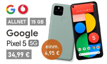 Google Pixel 5 – Allnet – 15 GB – Vodafone Netz – 34,99 € mtl.