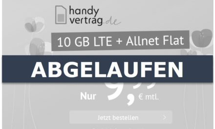 10 GB – Allnet-Flat von handyvertrag.de – LTE Netz von Telefónica – 9,99 € mtl.