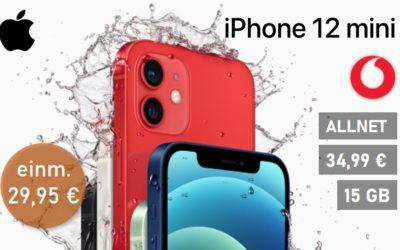 **Preisreduzierung** iPhone 12 mini – Allnet – 15 GB – Vodafone Netz – 34,99 € mtl.