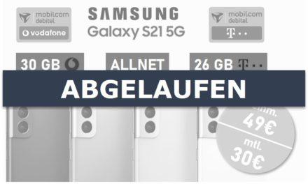 Samsung Galaxy S21 – Allnet – 30 GB/26 GB – md Vodafone/Telekom Netz – 30 € mtl.