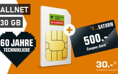 30 GB – Allnet-Flat von mobilcom – LTE Netz von Vodafone – 30 € mtl. + 500 € SATURN GUTSCHEIN