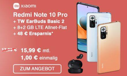 Xiaomi Redmi Note 10 Pro – Allnet – 10 GB – o2 Netz – 15,99 € mtl.