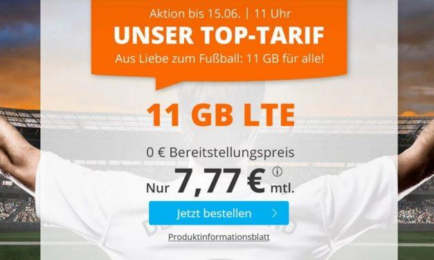 11 GB – Allnet-Flat von sim.de – LTE Netz von Telefónica – 7,77 € mtl.