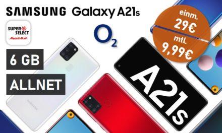Galaxy A21s – Allnet – 6 GB – o2 Netz – 9,99 € mtl.