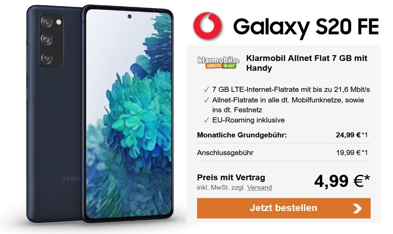 Samsung Galaxy S20 für 77 € - Allnet - 10 GB - Telekom Netz - 24,99 € mtl.