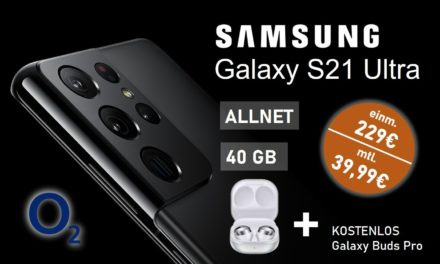 Samsung Galaxy S21 Ultra – Allnet – 60 GB – o2 Netz – 39,99 € mtl.