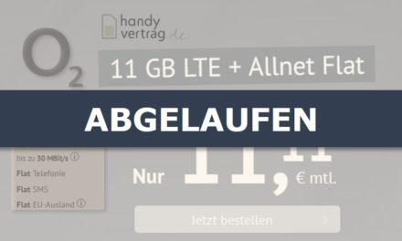 11 GB – Allnet-Flat von handyvertrag.de – LTE Netz von Telefónica – 11,11 € mtl.