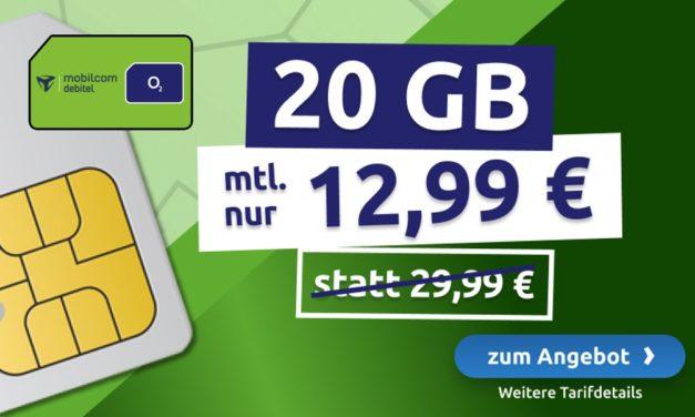 **MEGA DEAL** 20 GB – Allnet – md o2 Netz – 12,99 € mtl.