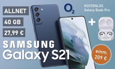 Samsung Galaxy S21 – Allnet – 40 GB – o2 Netz – 27,99 € mtl.