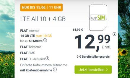 14 GB – Allnet-Flat von winSIM – LTE Netz von Telefónica – 12,99 € mtl.